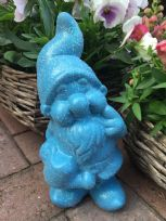 Blue Ceramic Sparkle Glitter Gnome